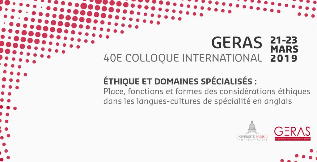 Visuel du 40e colloque international du GERAS 2019